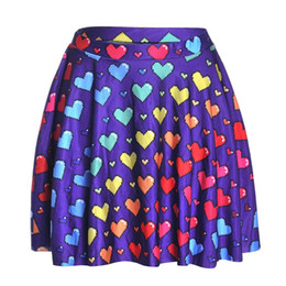 Wholesale Heart Printed Skirt - NEW 1215 Summer Sexy Girl Love Ya Bits Rainbow Heart Printed Cheering Squad Tutu Skater Sport Women Mini Pleated Skirt Plus Size