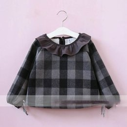Wholesale Chiffon Kids Ruffle Tops - Everweekend Girls Vintage Plaid Tees Ruffles Neck Baby Gray and Brown Color Clothes Lovely Kids Fleece Lining Korean Fashion Autumn Tops