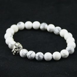 Wholesale Mens 8mm Silver Chain - 8mm Natural White Turquoise Stone Beads Bracelet for Women,Antique Silver and Gold Lion Head Bracelets, High Grade Mens Jewelry