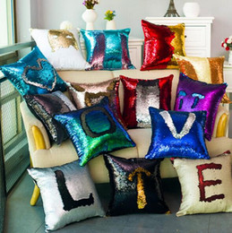 Wholesale Side Sleeper Pro Pillow - Color sequins hold pillowcase double-color mermaid back cushion sofa cushion cushion for leaning on puzzle