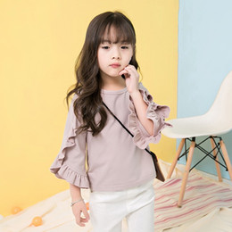 Wholesale Girls Tops Blouses - Girls Tops Kids Clothing 2017 Autumn Winter Cotton Stringy Selvedge T-Shirt Fashion Flare Sleeve Clothing HX-294