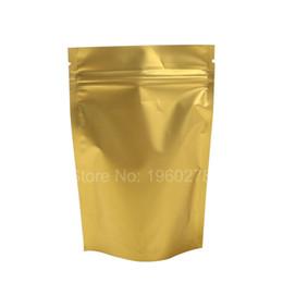 Wholesale Hot Foil Type - Hot sale 10x15cm  4x6in Tear Notch Matte Gold Heat Sealing Aluminum Foil Mylar Stand Up Zip Lock Storage Bag Pouch