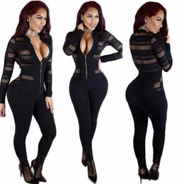 Wholesale High Fashion Clubwear - 2017 High quality bandage casual romper black prom bodycon jumpsuits women club overalls vestidos sexy women clubwear