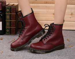 Wholesale Wide Heeled Boots - Wholesale cheap Winter ankle Style Dr. Genuine Leather Marten Boots Martin Shoes Men&Women Dr Designer genuine leather Boots