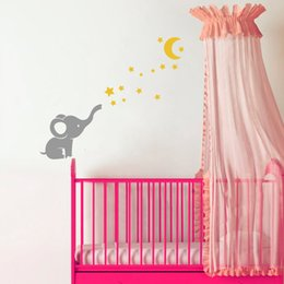 Wholesale Moon Room Wall Light - Cute Little Elephant Cartoon Art Mural Decals Moon Stars Vinyl Wall Stickers for Baby Room Decor