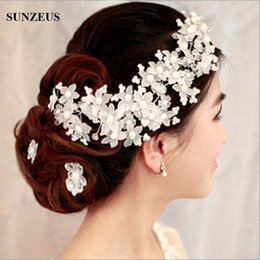 Wholesale Party Accessory Bride - Red White High Quality Handmade Bridal Hats with Pearl Wedding Accessories Flower Bride Pearl Hair Jewelry Dinner Party for Women