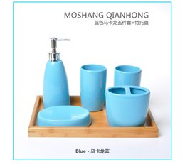 Wholesale Ceramic Lotion Bottles - color Environmental ceramics bathroom 5pcs set European contracted design bathroom supplies wash cup +lotion bottle+ brush holder+soap dish