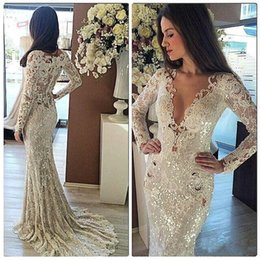 Wholesale Delicate Mermaid V Neck - 2017 V Neck Vintage Lace Sequins Mermaid Wedding Dresses Long Sleeve Sweep Train Vestido De Novia Delicate Bridal Gowns Custom
