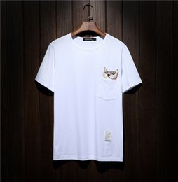 Wholesale Kitty Shorts - new funny hand made embroidery hell kitty 100% cotton round neck large size 5xl short sleeve tees for men