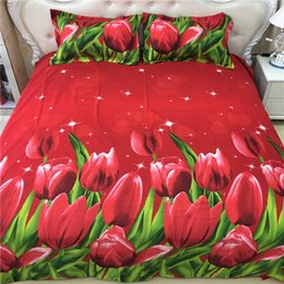 Wholesale Bedding Sets 3d Tulips - 2017 New Fashion Tulip Pattern 3D Bedding Set Home Textiles Twin Queen King Size Bed Sheets Quilt Pillow Case Wholesale 4PCS