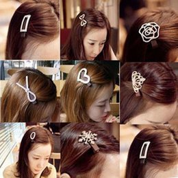Wholesale Diamonds Drill - Diamond drill full Bowknot hairpin crystal crown hair clips Ms duck mouth clamp Bride crystal hairpin