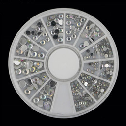 Wholesale Nail Decal Wheel - Wholesale- 1pcs KQH314 3 Size Mixed AB Laser Color 3d Nail Art Decoration Acrylic Rhinestones Decal Wheel