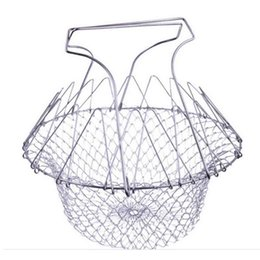 Wholesale Fry Baskets - Foldable Steam Rinse Strain Fry Chef Basket Strainer Net Kitchen Cooking Magic Chef Basket Strainer Net Kitchen Cooking Tool