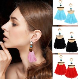Wholesale Coloured Earrings - Fashion Scalloped Fringe Earrings Vintage Women Boho Bohemian Earrings Long Tassel Fringe Dangle Earrings 4 Colour