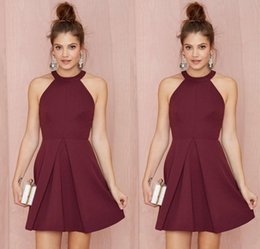 Wholesale Halter Cocktail Dress Navy Blue - Sexy Short Burgundy Cocktail Party Dresses Halter Backless A Line Above Knee Length Prom Gowns Custom Made Women Formal Homecoming Dress