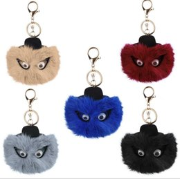 Wholesale Cute Solar - Fashion Cute monster Fur Ball fluffy Ball Key Ring Chain Pendant Keychain Key Rings Women Key Holder Christmas Gift AA184