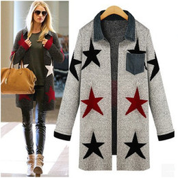 Wholesale Women Winter Sweater Outerwear - Wholesale- autumn winter womans star cardigan loose knit sweater coat outerwear pocket women's blouses tops gebreide ladies knitwear 2015