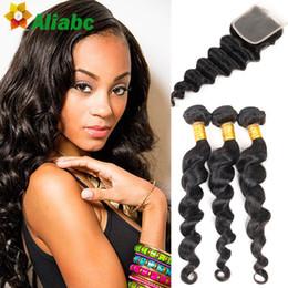 Wholesale Hair Sold Bundles - Aliabc Brazilian Loose Wave With Closure 7a Unprocessed Human Hair Loose Wave 3 Bundles With Closure Hot Selling