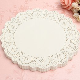 Wholesale Doily Mats - Wholesale-120Pcs White Round Lace Paper Doilies Plates Mats Coasters Placemats Wedding Events Party Table Gift Bag Decorative Accessories