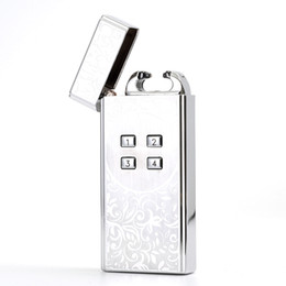 Wholesale China New Electronics - 2016 New Arrival CHINA Password USB Lighter Pulsed Arc lighter USB Charging Windproof Lighters electronic lighter Men Gifts Lighters