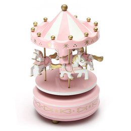 Wholesale Toy Carousels - Merry-Go-Round Musical carousel horse wooden carousel music box toy child game Home Decor Christmas Wedding Birthday Gift