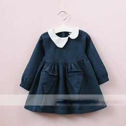 Wholesale Korean Summer Dresses Wholesale - Everweekend Girls Pocket Ruffles Dress Cute Baby Blue and Brown Color Clothes Princess Korean Fashion Autumn Cotton Clothing