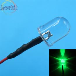 Wholesale Wholesale Leds Resistors - Wholesale- 20pcs 10MM 12v Pre-Wired Resistor Round Top Green Leds Emitting Diode 12V DC 20CM Led Lamp Light For car DIY