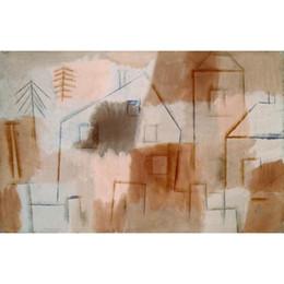 Wholesale Orange Abstract Canvas Art - Handmade oil painting Paul Klee Ort in Blau und Orange (Village in Blue and Orange) abstract art for bedroom decor