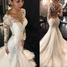 Wholesale tulle fishtail wedding dresses - Long Sleeve Mermaid Wedding Dresses 2017 Illusion Vestido De Noiva De Renda O-Neck Sheer Back Slin Fishtail Bridal Gowns