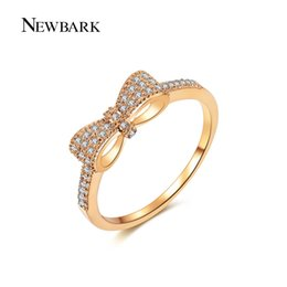 Wholesale Knot Ring Gold - NEWBARK Fashion Gold Color Bow Knot Stackable Ring Micro Pave CZ Crystal Compatible With Original Femme Jewelry Wedding Rings q170720