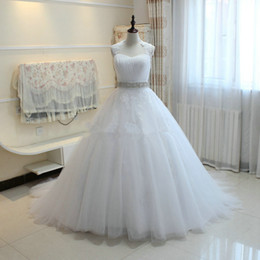 Wholesale Romantic Dresses - Beaded Tulle A Line Wedding Dress With appliques Wrap 2018 Romantic Wedding Gowns Court Train Wedding Dresses