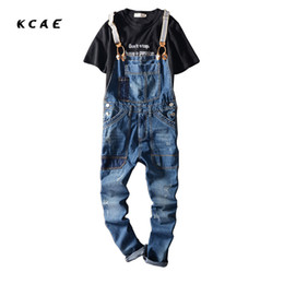 Wholesale Men S Overalls Skinny - Wholesale- 2017 New Arrival Stretched Mens Slim Straight Denim Overalls Distressed Jeans Ripped Jumpsuit Male Suspenders Bibs Blue