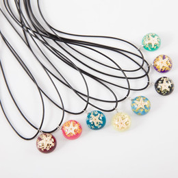 Wholesale Luminous Rope - Starfish Pendant Necklace Round Luminous Resin Dried Flower Green Pink Cute Women Charm Necklaces Jewelry Seaside Travel Gifts Wholesale