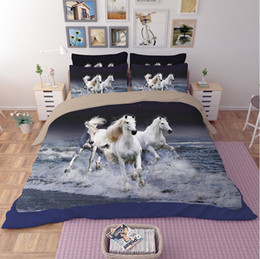 Wholesale White Full Comforter - twin queen king size Animal 3D Bed linen horse bedding sets running white horse bedding blue water 3_d quilt cover bedspread bed sheet set