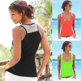 Wholesale Sleeveless Vests Summer Ladies - Factory direct sales for ladies vest sequin strap summer casual sleeveless vest solid color slimming vest tops