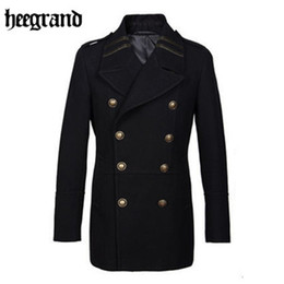 Wholesale Grand Double - Wholesale- HEE GRAND 2017 Male Winter Stand Collar Single Breasted Brife Slim Dust Coat Men's Solid Color Casual Coats MWN216