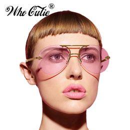 Wholesale Arrow Glass Lens - WHO CUTIE 2017 Rimless Clear Aviator Sunglasses KW Arrow Leg Versae Men Women Tint Pink Yellow Lens Sun Glasses Ray Shades OM400
