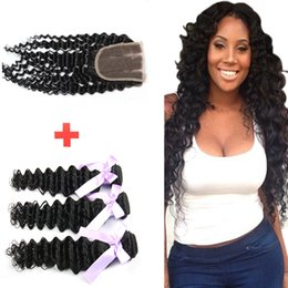 Wholesale Machining Parts Products - Brazilian Deep Wave Bundles with Human Hair Lace Closure Hair Free Part Remy Hair products Can Be Bleached and no smell for women
