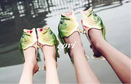 Wholesale Fishing Booties - Designer Slippers Creative Fish-shaped Slippers for Men Women Kids SUMMER SHOES Cool Scuffs Beach Slippers Children's Parent-child Shoes