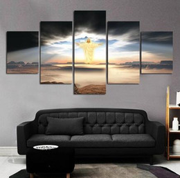 Wholesale abstract jesus - Unframed 5 Pcs Modern Paintings Canvas Wall Art For Living Room the Lord Jesus Oil Painting Printed in Canvas Beautifull Pictures