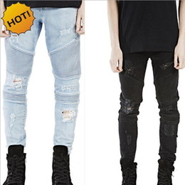 Wholesale Motorcycle Boys - Wholesale- Hot 2017 Hip Hop Hole Ripped Jeans Men Fashion Pleated Runway Distressed Biker Boy Blue Black Motorcycle Trousers Bottoms 28-40