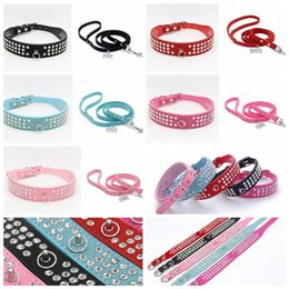 Wholesale Dog Leash Rope - personalized 3 Rows rhinestone suede Leather Dog Collars Pet Collars dog traction rope training lead accessories dog collar leash set