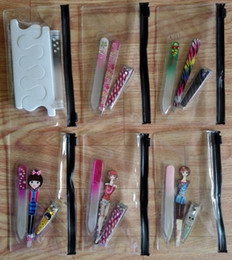 Wholesale Colorful Nail Clipper - 100Pcs set Eyebrow Clip + Nail Clippers + Manicure Glass Nail File Colorful Style Printed Pattern Tool New Travel Style Kit Random Delivery