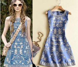 Wholesale Cowboy Women Vests - 2017 spring and summer new cowboy body heavy industry embroidery A font sleeveless vest was thin bottom dress