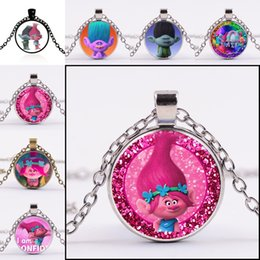 Wholesale Wholesale Kid Necklace Pendants - Carton Trolls poppy Glass Cabochon Necklace Time Gemston dome Pendant for women Kid Jewelry Gift silver bronze black 161794