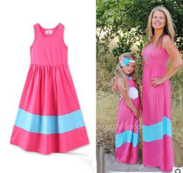 Wholesale Mother Dresses Clothes Plus - Plus Size Mother Daughter Matching Dress 2017 Summer Striped Cotton Mother and Daughter Clothes Cotton Vest Dress Family Clothing