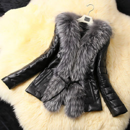 Wholesale Ladies Leather Coat Fox Collar - Top Fashion Ladies Fur Coat 2017 New Fall Winter Style PU Leather Stitching Faux Fox Fur Coats Plus Size Slim Outerwear CT003