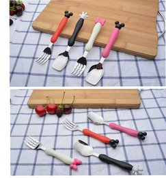 Wholesale Cute Stainless Steel Spoon - Stainless steel spoon fork set for children INS cute cartoon mickey minnie Fork Spoon Picnic Set Gift for Child Dinnerware for kindergarten