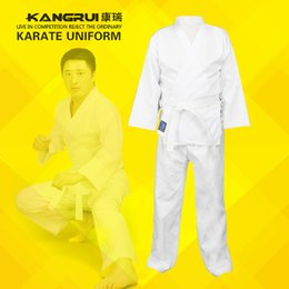 Wholesale Cheap Mma - cheap good quality child adult karate uniform suit WTF Taekwondo kick boxing MMA Martial art training clothes dobok cotton