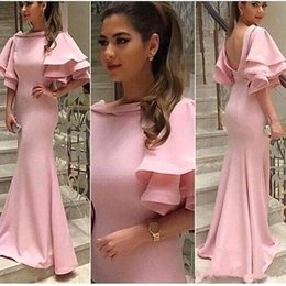 Wholesale Bridal Short Reception Dress - Arabic Pink Mermaid Long Evening Dresses Satin Ruffles Sleeves Backless Long Party Prom Gowns Celerity Formal Wear Bridal Reception Dresses